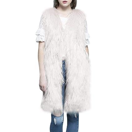 Chaleco Abrigo de Piel Imitación Modelo Largo con Cuello en v Chaleco Abrigo Moda Color sólido