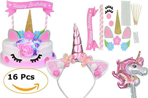 JustBeccuzTM - Unicorn Cake Topper Set Unicorn Birthday Party Supplies Unicorn Headband and Unicorn Balloon