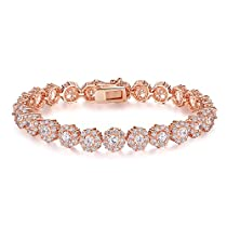 Presentski Rose Gold Plated Tennis Bracelet with White CZ Stones for Women and Girls 7.5 Inches