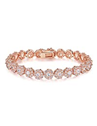 Presentski Rose Gold Plated Tennis Bracelet with White CZ Stones for Women and Girls