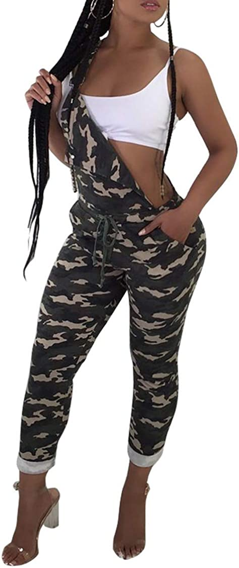 Abetteric Womens One-Shoulder Camo Roll up Bib Pants Jumpuits and Rompers