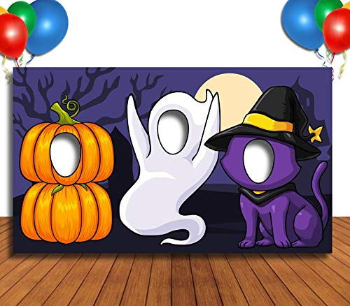 Happy Halloween Face In Hole (Pumpkin Cat and Ghost Hole in Face Banner, Face Cutout, Party Selfie Photo Prop, Birthday)