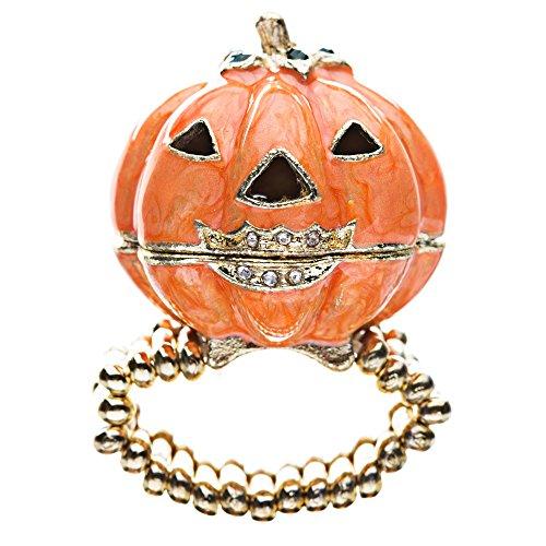Accessoriesforever Halloween Jewelry Locket Pumpkin Stretch Ring - Ring Pumpkin