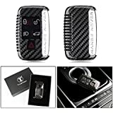 LUXURY CARBON FIBER PROTECTIVE HARD KEY CASE COVER FOR LAND ROVER RANGE ROVER KEYLESS ENTRY SMART FOB