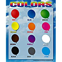 Colors Chart by School Smarts ● 12 BOLD Colors ● Durable Material Rolled for Protection and SEALED in a PROTECTIVE poster sleeve.