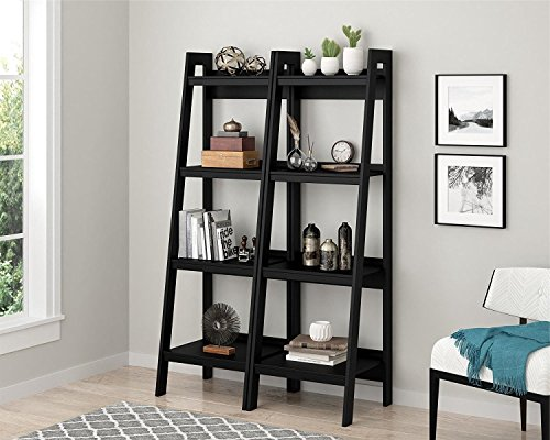 Western Pine Bookcase (Premium Bookcase Pair (x2) Shelf Storage Rack Rear for Modern Contemporary Home Living Room Spaces)
