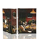 Dogs Playing Poker Decorative Book Box Secret Storage Book Playing Card Box