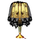 """Halloween Spider and Bat Web Decoration Lace Lampshade Topper Fireplace Mantle Scarf Window Curtain with Ribbon for Halloween Parties, Décor & Spooky Meals, Black 60""""x 18"""""""