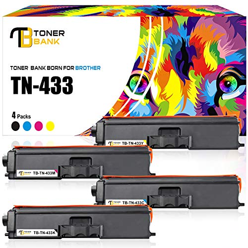 Toner Bank Compatible Toner Cartridge Replacement for Brother TN433 TN-433 MFC L8900CDW for Brother HL-L8360CDW MFCL8900CDW HLL8360CDW HL-L8260CDW MFC-L8610CDW HLL8360CDWT MFCL8610CDW KCMY, 4 Packs)