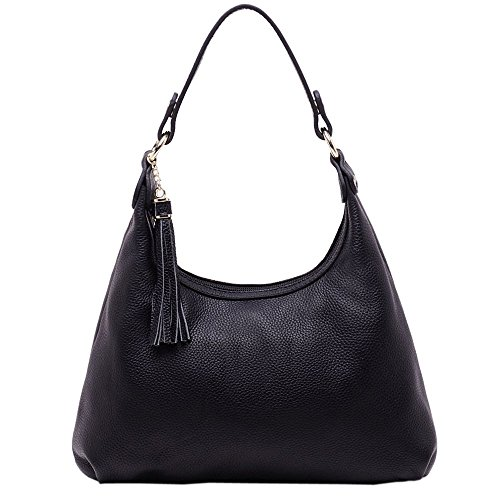 SAIERLONG New Womens Black Cowhide Genuine Leather Clutches bag Cross Body Bags Shoulder Bags (Makowsky Black Leather)