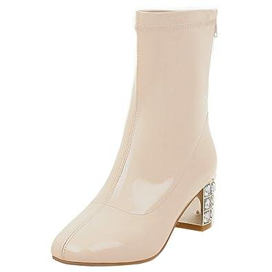 AIYOUMEI Damen Lack Stiefeletten mit Reißverschluss und 6cm