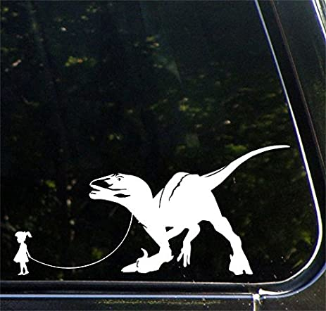 Pet dinosaur velociraptor w girl car truck atv vinyl decal sticker