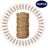 100 Pcs 3.5 cm Natural Wooden Clothespins with Spring Photo Paper Peg Wooden Mini Clips Craft Pegs with 328 Feet Natural Jute Twine for Arts & Crafts DIY Decorations