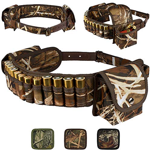 - BronzeDog Shotshell Bandolier Waterproof Shotgun Shell Holder Adjustable Nylon Belt Case Hunting Accessories 12 16 Gauge (Brown Cane Camo)