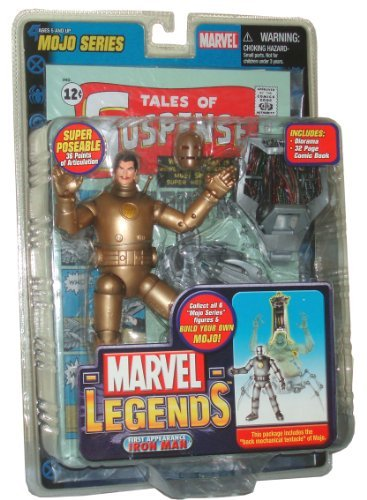 Marvel Legends Year 2006 Mojo Series 7 Inch Tall Super Poseable Action Figure - Variant Gold Color First Appearance Iron Man with 36 Points of Articulation, Removable Mask, Diorama and 32 Page Exclusive Comic Book Plus Bonus of