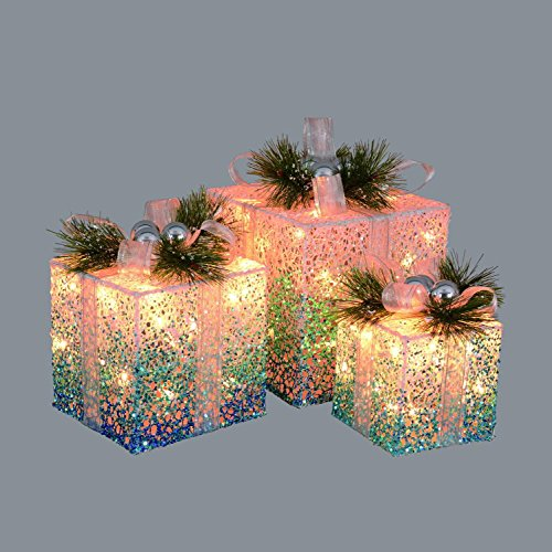 Northlight Set of 3 Blue and White Decorative Lighted Boxes Outdoor Decorations 12