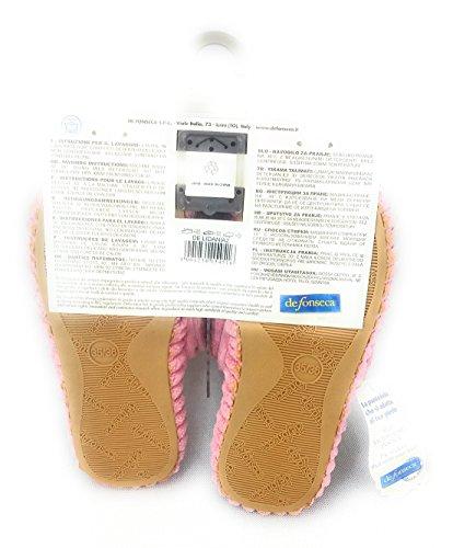 DE FONSECA Donna Pantofole ciabatte scendiletto rosa con fondo in gomma NR 35/36