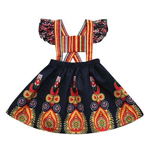 African Print Clothing - Kids Baby Girls African Tribal Print Backless Dress Suspenders Skirt (Multi, 90/12-18 Months)