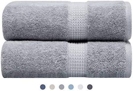 3H Cotton Luxury Bath Towels - Grey 27 x 54 Inch Plush Soft Spa Bath Towel Set, Hotel Large Bathroom Bath Sheets