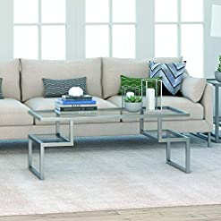 Living Room Henn&Hart Modern Hollywood Glass, Rectangle Cocktail Satin Living Room, Home Office, Den Coffee Table, 18″ H x 45″ L x 20″ W, Silver/Nickel Finish modern coffee tables