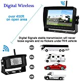 Digital Wireless Backup Camera and 7''Monitor Kit System for RV/Pickup/Van/Truck/Trailer Driving&Reversing Rear View/Front View Use IP69K Waterproof Night Vision Guide Lines ON/Off
