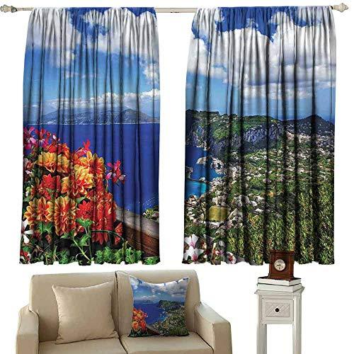 - Heat Insulation Curtain Island Scenic Capri Island Light Blocking Drapes with Liner W63 xL45 Italy Mountain Houses Flowers View from Balcony Landmark