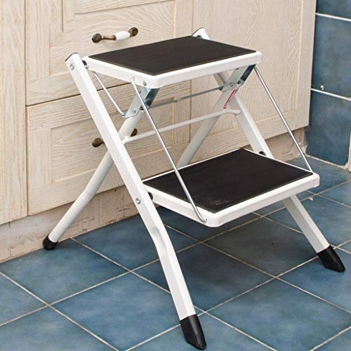 Step stool Folding 3 Tier Ladder Chair Bench Seat Utility Multi-Functional, Folding Step Chair Wrought Iron Double Folding Chair (Color : White)