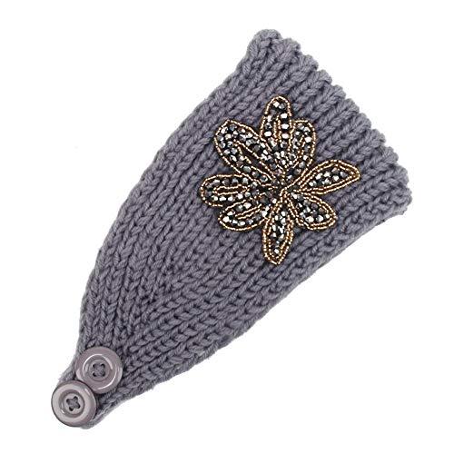 BUKEZH Women Practical Hairband Handmade Knitting Hair Head Hoop Keep Warm Headband (Gray -