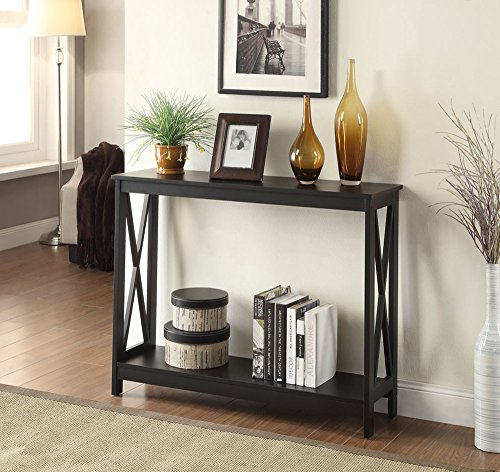 Malibu Living Room Sofa - Convenience Concepts Oxford Console Table, Black