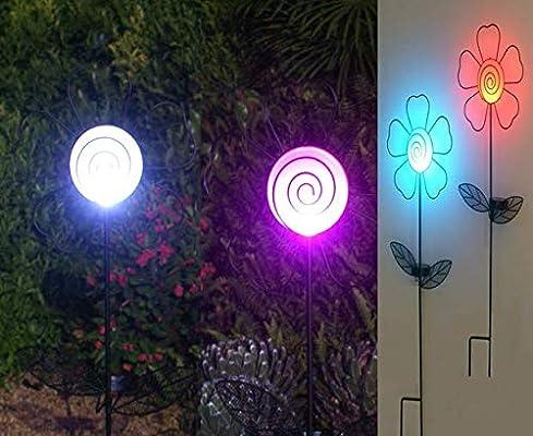 TIAAN 157816 - Juego de 2 luces LED solares para decoración de jardín, diseño de flores: Amazon.es: Iluminación