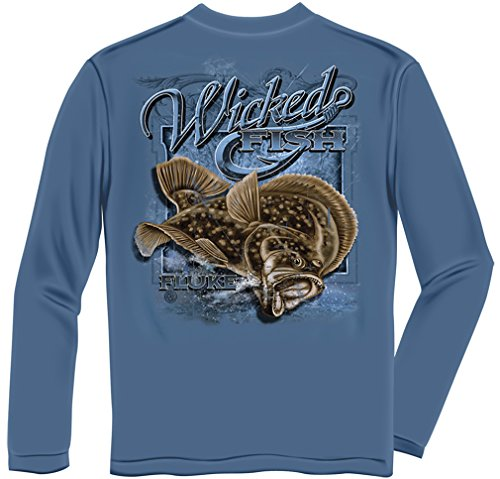 (Fluke Flounder Fishing 100% Cotton Casual Men's Long Sleeved Shirts, Show Your Love of Fishing with our Unisex Wicked Fish Fluke Flounder Saltwater Long Sleeve T-shirts for Men or Women (X-Large))