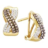 Roy Rose Jewelry 14K Yellow Gold Ladies Cognac-brown Colored Diamond Crossover French-clip Earrings 1/2 Carat tw