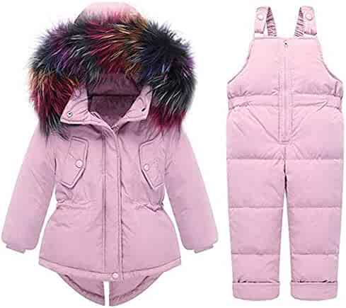 0cf18f7017c3 Maxhugoo Baby Girls 2 Piece One Hooded Snowsuit Thick Winter Warm Snowsuit