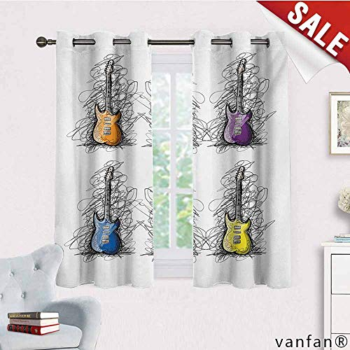 Big datastore Children Bedroom Curtains,Music,Sketchy Lines Colored Design Guitar Insrument Collage Teens Rocker Song Lovers Image,Pattern Custom Availablemulticolor,W72 Xl63]()