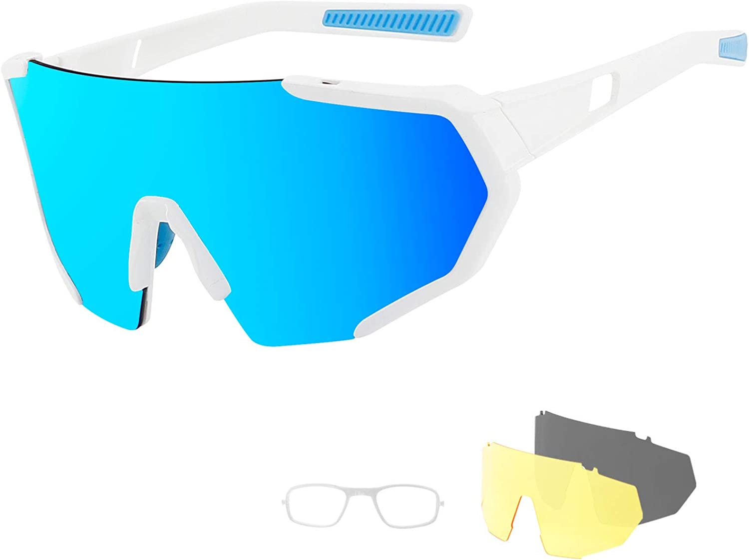 Cycling Sports Sunglasses with 3 Interchangeable Lenses,Polarized Bike Glasses for Men Women
