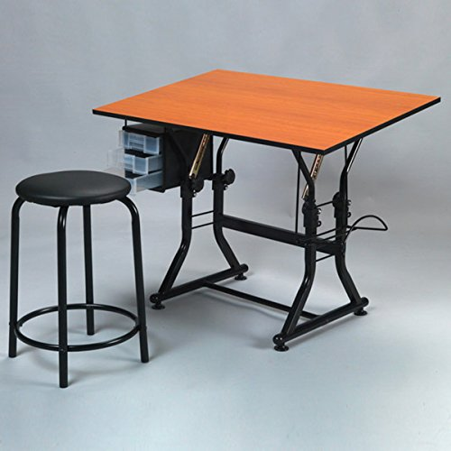 Martin Universal Design Ashley Creative Drafting and Hobby Craft Table with Stool Set