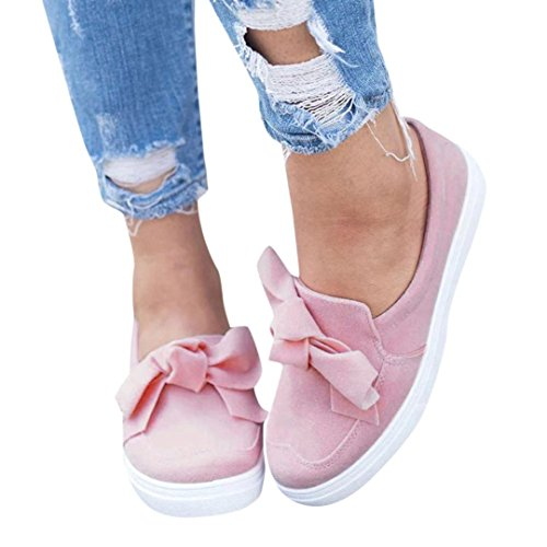 (❤️Clearance Promotion! Women Shoes, 2018 Autumn Fashion Bow-knot Flat Shoes Slip On Sneakers Girls Casual Shoes (US:8, Pink))