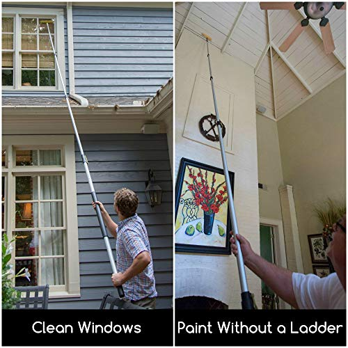 DocaPole 6-24 Foot Extension Pole - Multi-Purpose Telescopic Pole // Light Bulb Changer // Paint Roller // Duster Pole // Telescoping Pole for Window Cleaning, Gutter Cleaning, and Hanging Lights