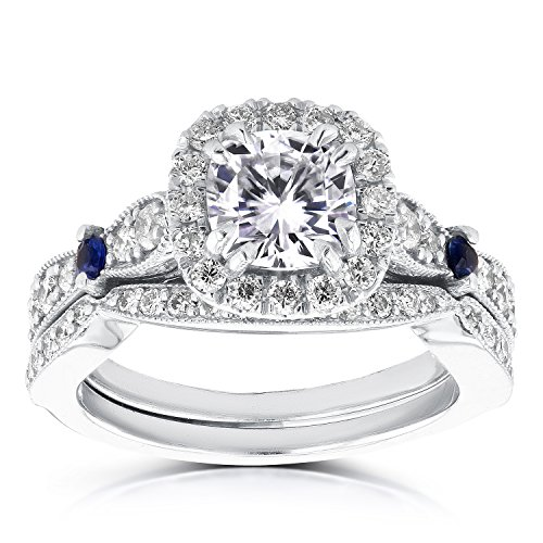 moissanite Forever Diamant et saphir de mariage de Lot de 14/5carat (CT) en or blanc 14K _ 4.5