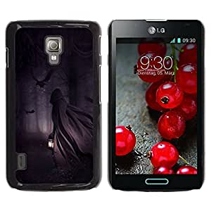 Paccase / SLIM PC / Aliminium Casa Carcasa Funda Case Cover - Man Lantern Forest Night Dark - LG Optimus L7 II P710 / L7X P714