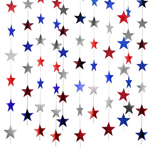 Patelai 130 Feet Golden Patriotic Star Streamers 4th of July Sparkling Paper Star Garland Hanging Decoration for Independence Day Memorial Day Labor Day Party (Red Silver Blue, Set of A)