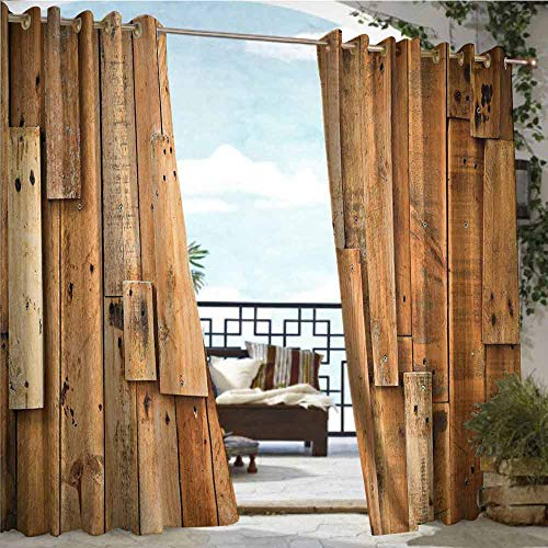 Outdoor Privacy Curtain for Pergola Wooden,Lodge Style Teak Hardwood Wall Planks Image Print Farmhouse Vintage Grunge Design Artsy,Amber,W84