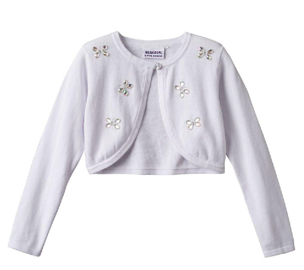 Blueberi Boulevard Girls Butterfly Jewel Shrug Sweater, White (4)