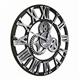Handmade Oversized 3d Retro Rustic Decorative Luxury Art Big Gear Wooden Vintage Large Wall Clock on the Wall for Gift(Roman numerals silver)