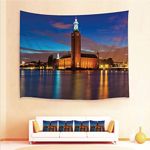 iPrint 1pcs Hanging Tapestry 4pcs Pillow case,Wall Hanging Blanket Beach Towels Picnic Mat Home Decor,City Hall Old Town Enchanted Town Sweden View,3D Printed Tapestry Bedroom Living Room
