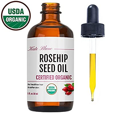 Rosehip Seed Oil by Kate Blanc. USDA Certified Organic, 100% Pure, Cold Pressed, Unrefined. Reduce Acne Scars. Essential Oil for Face, Nails, Hair, Skin. Therapeutic AAA+ Grade
