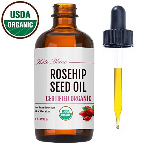Rosehip Seed Oil by Kate Blanc. USDA Certified Organic, 100% Pure, Cold Pressed, Unrefined. Reduce Acne Scars. Essential Oil for Face, Nails, Hair, Skin. Therapeutic AAA+ Grade. 1-Year Guarantee (1oz)