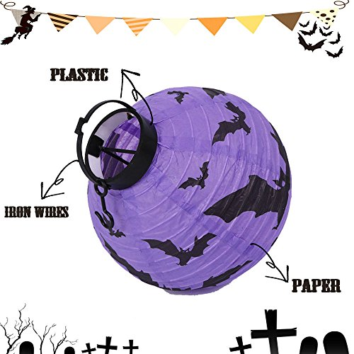 Diy Scarecrow Costume Hat ([Purple] New Halloween LED Paper Pumpkin Hanging Lantern DIY Holiday Party Decor Scary)