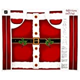 Quilting Treasures Fabrics Sew and Go Metallic Santa's Apron 35in Panel, Red