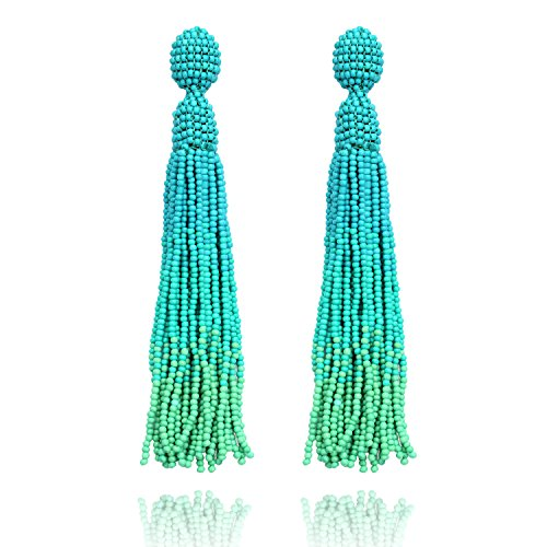 Beaded Tassel Turquoise Long Bead Fringe Drop Dangle Stud Earrings for (Turquoise Beaded Fringe)